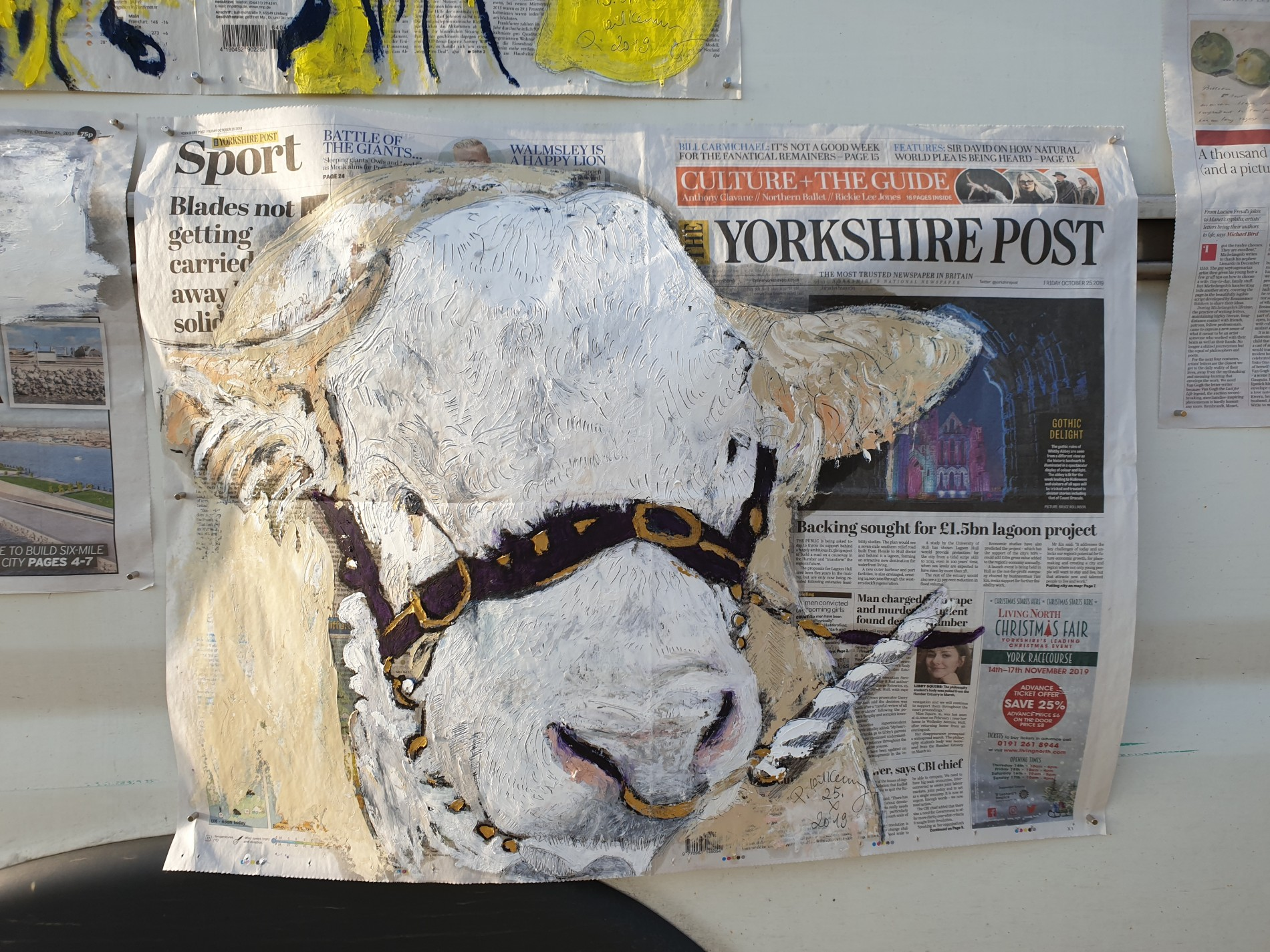 Yorkshire Bull Oil on The Yorkshire Post 28.X.2019  by Pete Kilkenny
